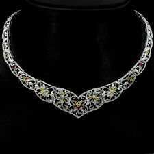 REAL MARQUISE FACE 4x2mm FANCY SAPPHIRE STERLING 925 SILVER BIB CHOKER NECKLACE