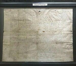Original 1515 MEDIEVAL LARGE MANUSCRIPT-SIGNED-Parchment Skin #01782