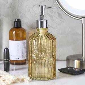 2PC Yellow Glass Soap/Lotion Pump Dispenser Bathroom Accessory/Accessories Set