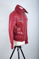 P1214/DM Vintage New Look Real Leather Red Biker Jacket, size 14