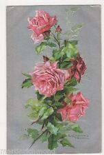 C. Klein, Flowers, Pink Roses, Birn Bros. 2103 Embossed Postcard, B484