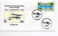 FRANCE Vol NANCY LUNEVILLE aviation centenaire 2012  Carte PA 75 oblit. NANCY