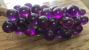 Large Cluster Purple Lucite Grapes on Wood Stem MCM Mid Century Modern 17 Inches