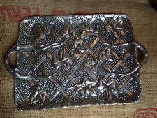 Vtg The Haldon Group 1988 Cast Aluminum Serving Tray Basketweave Ivy Leaf Design