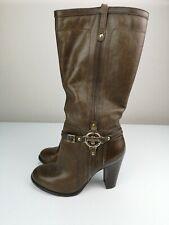RIVER ISLAND Designer Brown Leather Knee/Calf High Heel Shoe Boot Size 5 38