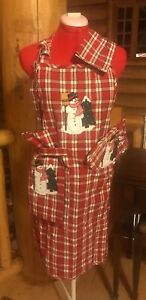 Embroidered Plaid Christmas Apron Set Includes Hot Pad Dish Towel and Napkin