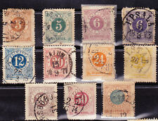 SWEDEN: 11 DIFFERENT 1872-77 (perf 14) issues-Scott#s17, 19, 20, 22-27, 20a, 24a