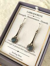 Shivam Silver Earrings With Labradorite Very Rare Stone Retail $88 Made In India