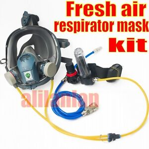 Supplied Fresh AIR FED Full Face MASK KIT For PAINT SPRAY Gas RESPIRATOR 1Filter