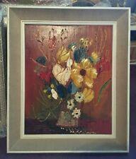 Original signed vintage oil on board of flowers in a vase