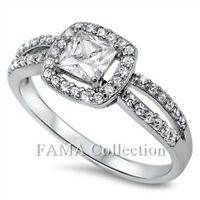 FAMA 925 Sterling Silver Engagement Ring Princess Cut 1.0CT w/ Paved CZ Size 5-8