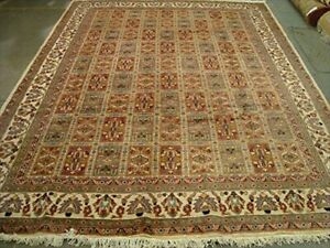 Bakhtiari Pestal Flower Rectangle Rug Wool Silk Hand Knotted Carpet (11 x 8)'