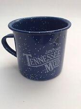 Vintage JACK DANIELS Tennessee Mud Whiskey TIN CUP Mug Blue Speckled - ue
