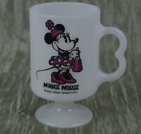 Minnie Mouse Milk Glass Pedestal Cup Walt Disney Coffee Mug Fuchsia Pink Vintage