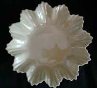 BELLEEK Irish Porcelain YELLOW Cobb LUSTER STAR TRAY Candy BOWL Scalloped Edges