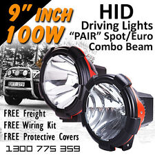 HID Xenon Driving Lights - 9 Inch 100w Spot/Euro Beam Combo 4wd Offroad 9-32v