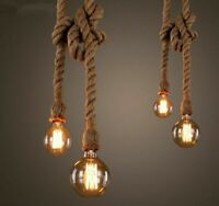 Hemp Rope Pendant Lights Vintage Retro Loft Industrial Hanging Lamp For Home New