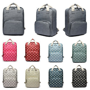 Plum Girls Backpack School Bag Collage Travel Rucksack Laptop Polka Dots Bag