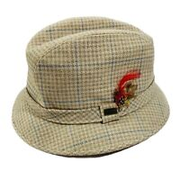 Vintage Fedora Hat Dobbs Fifth Ave Tweed Mens Size 7 1/2 - 7 5/8 Houndstooth XL