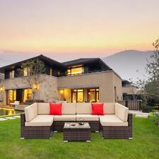 7Pcs Outdoor Patio Sectional Furniture Pe Wicker Rattan Sofa Set Garden Yard Us