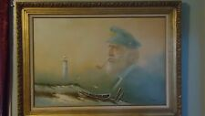 Sea Captain Lighthouse Boat Framed Oil Painting On Canvas Bill Hart Large