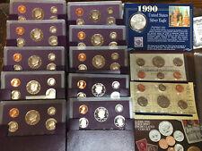 1990 10-Proof Sets 1 Mint Set 1 U.S. Silver Eagle Dollar W/USPS 3 Stamp 31 Coins