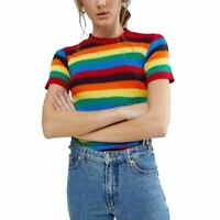 Womens Ladies Rainbow Stripe Knitted Short Sleeves Polo Neck Fancy Sweater Top