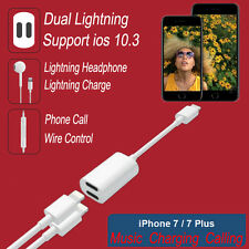 For iPhone 7 Plus 2in1 Dual Lightning to Audio Charge Headphone Adapter Charger