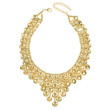 Beaded Bib Statement Necklace In Matte Gold Tone - FAST SHIP FROM USA