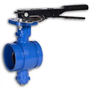 """Grooved End Butterfly Valve 4"""" 200 cwp, Ductile Iron Buna Disc Lever NEW <068WH"""