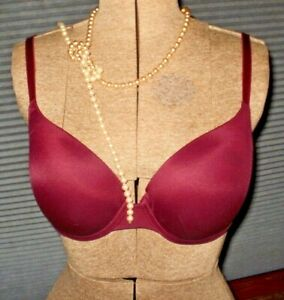 Victorias Secret Pink Bra 34D Wear Everywhere Demi Maroon Lightly Padded Sz 34D