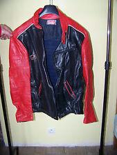 VINTAGE. Blouson moto cuir RANVIER Rouge et Noir T46