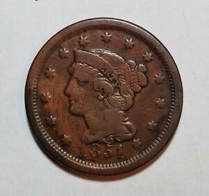 1851 Braided Hair ~ Coronet Large US Cent~ Philadelphia Mint #C9