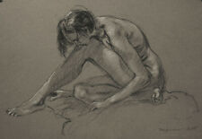 """New ListingNude Female Black & White Conte Drawing 13"""" x 18"""" on archival Gray Canson paper"""