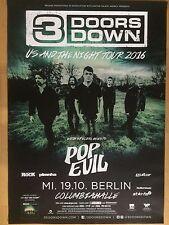 3 DOORS DOWN  2016  BERLIN  - orig.Concert Poster -- Konzert Plakat  A1 NEU