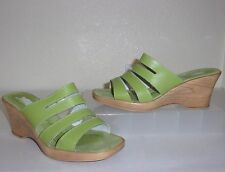 Spring Step Made in Italy Green Leather Sandals Size 38 / 7 Slides Shoes