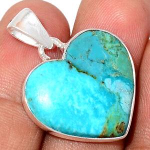 Heart - Kingman - Blue Mohave Turquoise, Arizona 925 Silver Pendant BP76293
