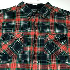 BDG Men's Long Sleeve Button Up Shirt XL Extra Large Green Red Plaid Two Pockets