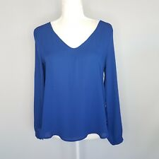 Lush Royal Blue Long Sleeve Blouse Top Women's Size Small