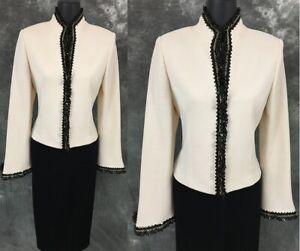 BEAUTIFUL St John evening jacket knit black ivory suit blazer size 4