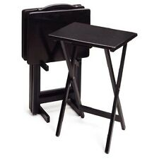 Black TV Tray Table Set With Storage Stand Wood Folding Storage Furniture