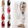 Big Large Women Maxi Ladies Plain Hijab Lace Shawl Scarf Sarong Plain Hijab New