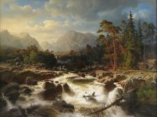 """Wholesale lots oil painting Dramatic river landscape with figures and mills 36"""""""