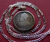 "1904 Panama .900 Silver Antique Coin Pendant, 24"" Italian Sterling Silver Chain"