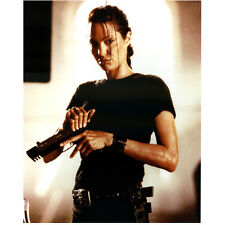 Lara Croft Tomb Raider Angelina Jolie Holding Gun in Black 8 x 10 Inch Photo