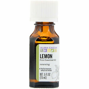 Aura Cacia  Pure Essential Oil - Lemon -- Renewing  5 fl oz  15 ml