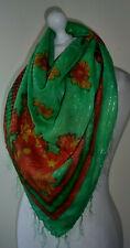 """Green Square Scarf Orange Floral Sparkly Silver Lurex Tassels Lightweight 40"""""""