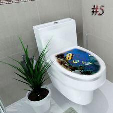 3D Toilet Seat WC Bathroom DIY Vinyl Removable Wall Sticker Decor fish water