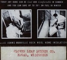 Johns Manville Rock Wool Insulation, Edgar Wisconsin Magic Lantern Glass Slide