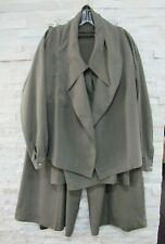 Vintage Claude Montana Taupe Silk Avant Garde Jacket Blouse & Pants Suit 8 10